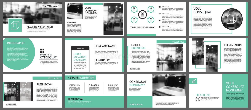 Grüne Darstellungsschablonen für Dia infographics Element-BAC lizenzfreie abbildung