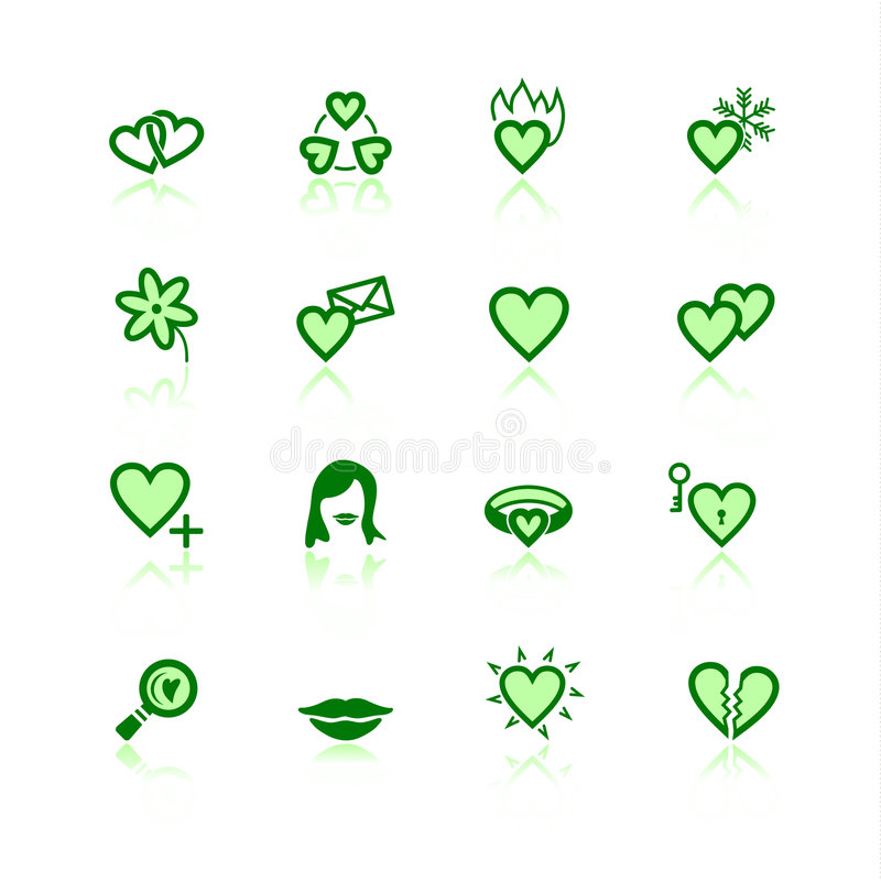 Grüne Datierungsikonen stock abbildung