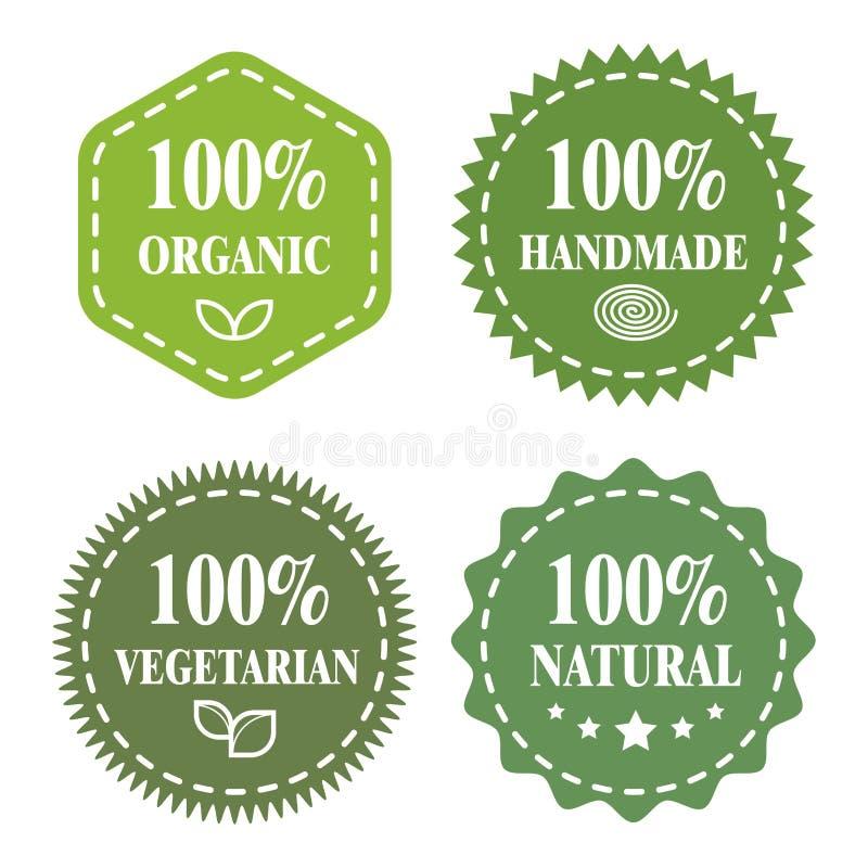 Grüne eco Abzeichen Organisch, handgemacht, vegetarisch, natürlich stock abbildung