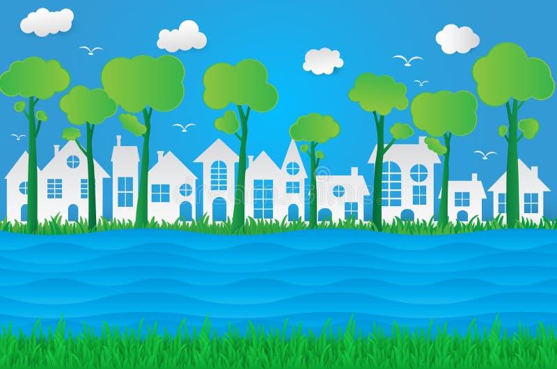 Grüne eco Papierkunst-Designart, Baum, Stadt, Haus mit Natur, vektor abbildung