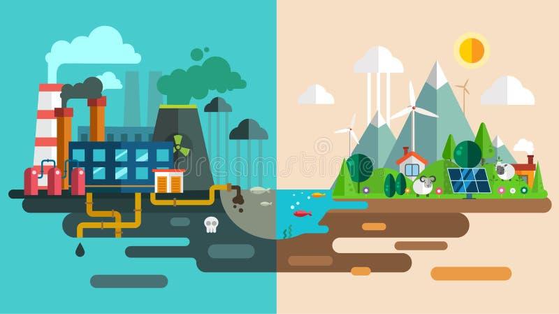 Grüne eco Stadt sterben Ökologiekonzept Neue Energie vektor abbildung