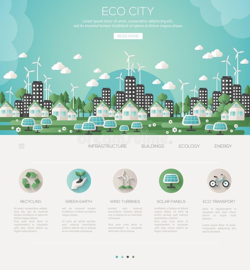 Grüne eco Stadt und stützbare Architektur stock abbildung