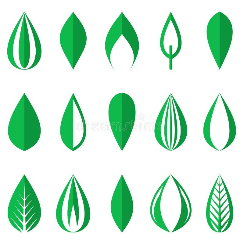 Grüne einfache Blätter stock abbildung
