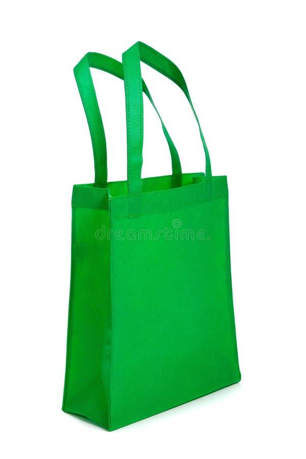 Grüne Einkaufstasche mit Griffen stockfoto