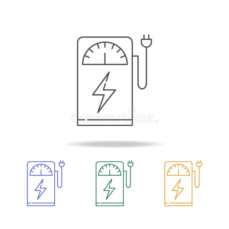 Grüne elektrische Tanksäuleikonen Eco Element von Ökologie für bewegliches Konzept und Netz Dünne Linie Ikone für Website Design  lizenzfreie abbildung