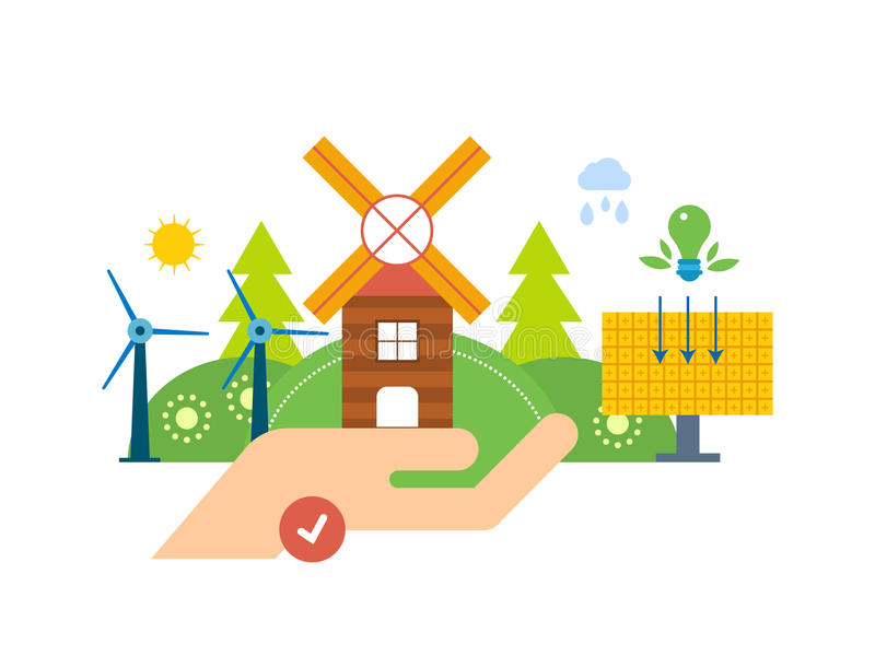 Grüne Energie, Ökologie, sauberer Planet, Stadtlandschaft, industrielle Fabrikgebäude stock abbildung