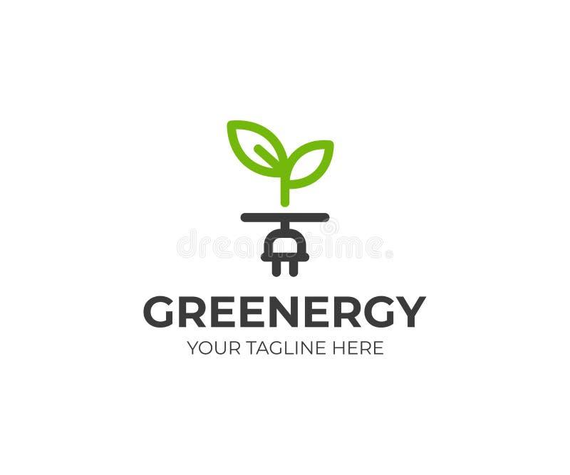 Grüne Energie Logo Template Sprösslings- und Netzsteckervektordesign vektor abbildung