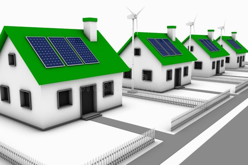 Grüne Energie-Nachbarschaft lizenzfreie abbildung
