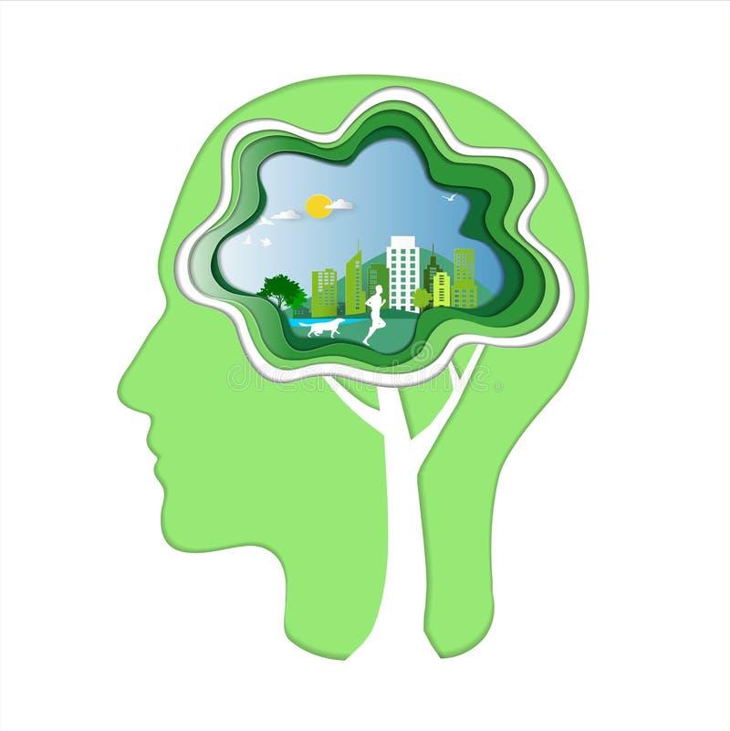 Grüne Energie und Abwehrumweltkonzept, menschlicher Kopf mit Gehirn, Mann und Hund laufen in Stadtparks vektor abbildung