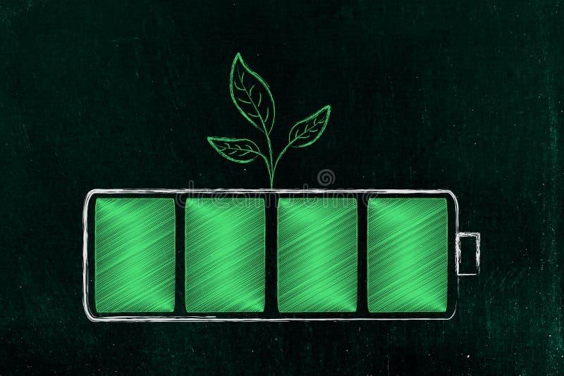 Grüne Energiebatterie mit den Blättern, die von ihr wachsen stockbilder