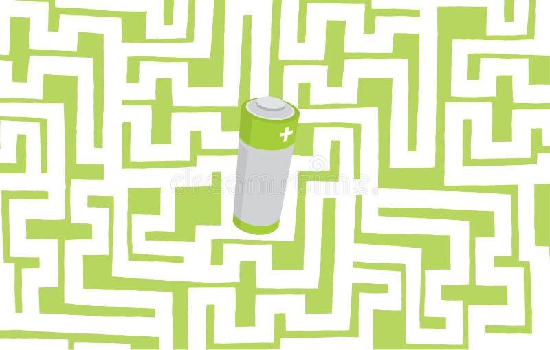 Grüne Energiebatterie versteckt im komplexen Labyrinth oder im Labyrinth lizenzfreie abbildung