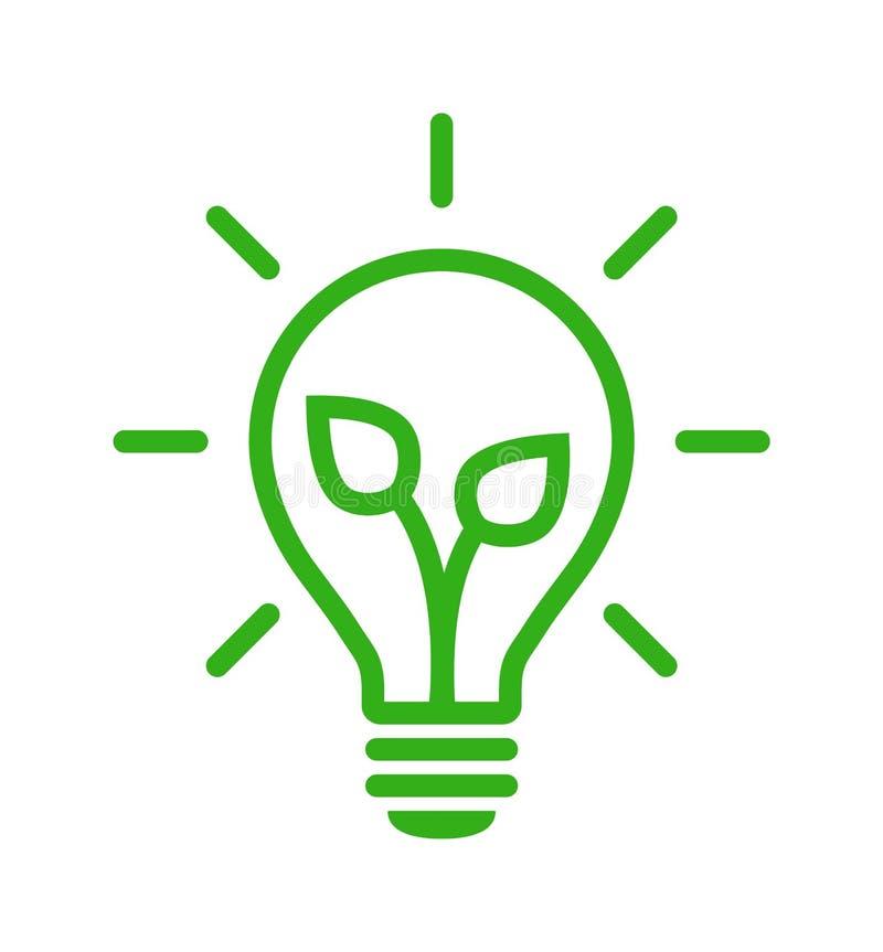 Grüne EnergieGlühlampeikone lizenzfreie abbildung