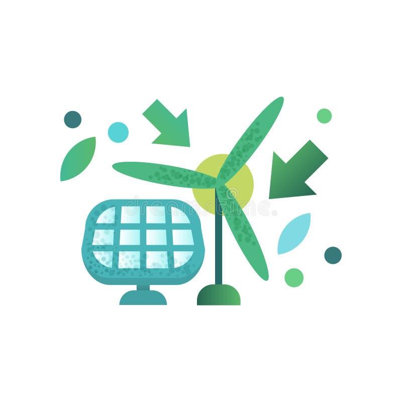 Grüne Energiewindmühle und -Sonnenkollektor, Alternative und erneuerbare Energie vector Illustration auf einem weißen Hintergrund lizenzfreie abbildung