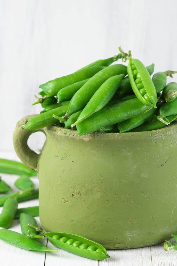 Grüne Erbsen im Potenziometer lizenzfreie stockfotos