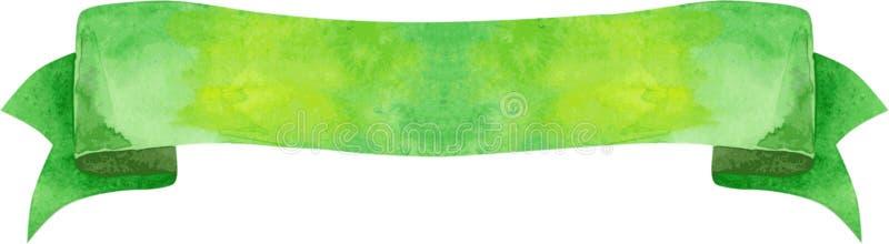 Grüne Fahne des Aquarells vektor abbildung