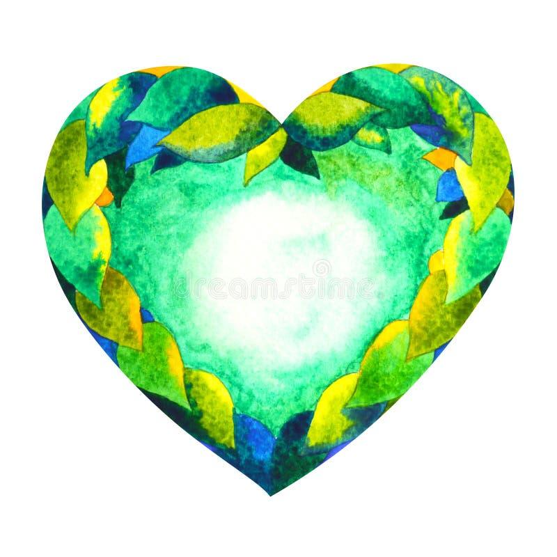 Grüne Farbe des chakra Symbol-Herzkonzeptes, blühen Blumen vektor abbildung