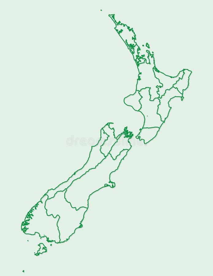 Grüne Farbe-Neuseeland-Karte mit Linien von verschiedenen Regionen auf hellem Hintergrundvektor stock abbildung