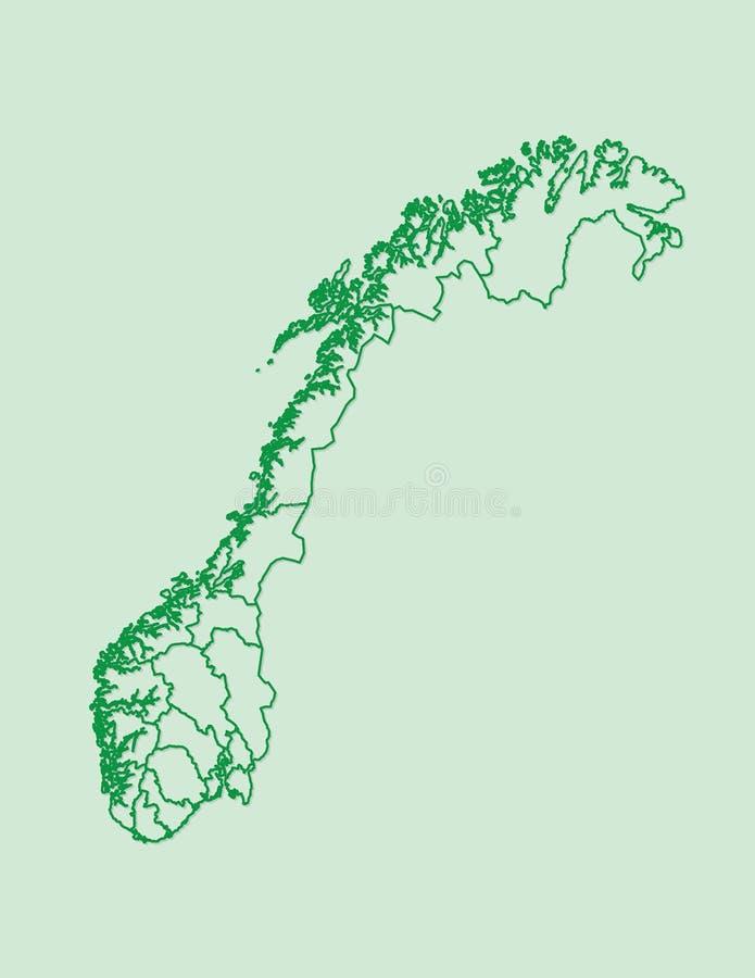 Grüne Farbe-Norwegen-Karte mit Linien von verschiedenen Regionen auf hellem Hintergrundvektor stock abbildung