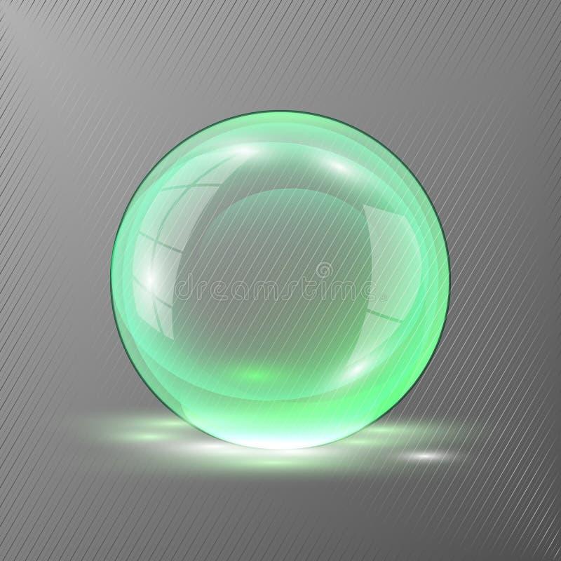 grüne farbige Kugel 3d Vektorillustration des transparenten klaren glänzenden Balls stock abbildung