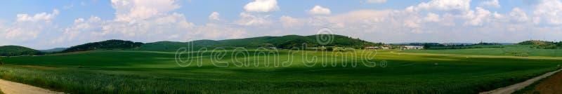 Grüne Felder und grasartiger Flughafen stockbilder