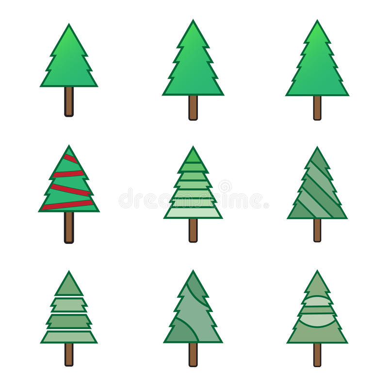 Grüne flache Weihnachtsbaum-Symbolikonen eingestellt lizenzfreie abbildung