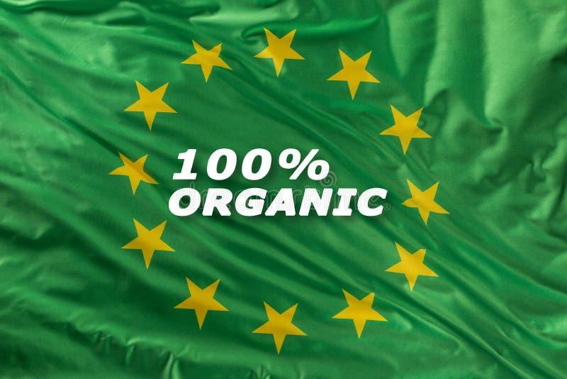 Grüne Flagge der Europäischen Gemeinschaft als Kennzeichen der organischen Bionahrung oder der Ökologie stock abbildung