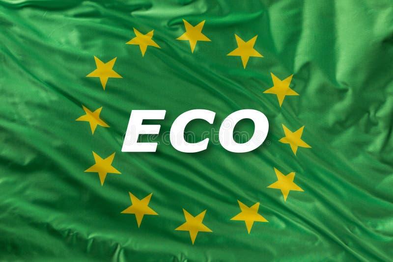 Grüne Flagge der Europäischen Gemeinschaft als Kennzeichen der organischen Bionahrung oder der Ökologie vektor abbildung