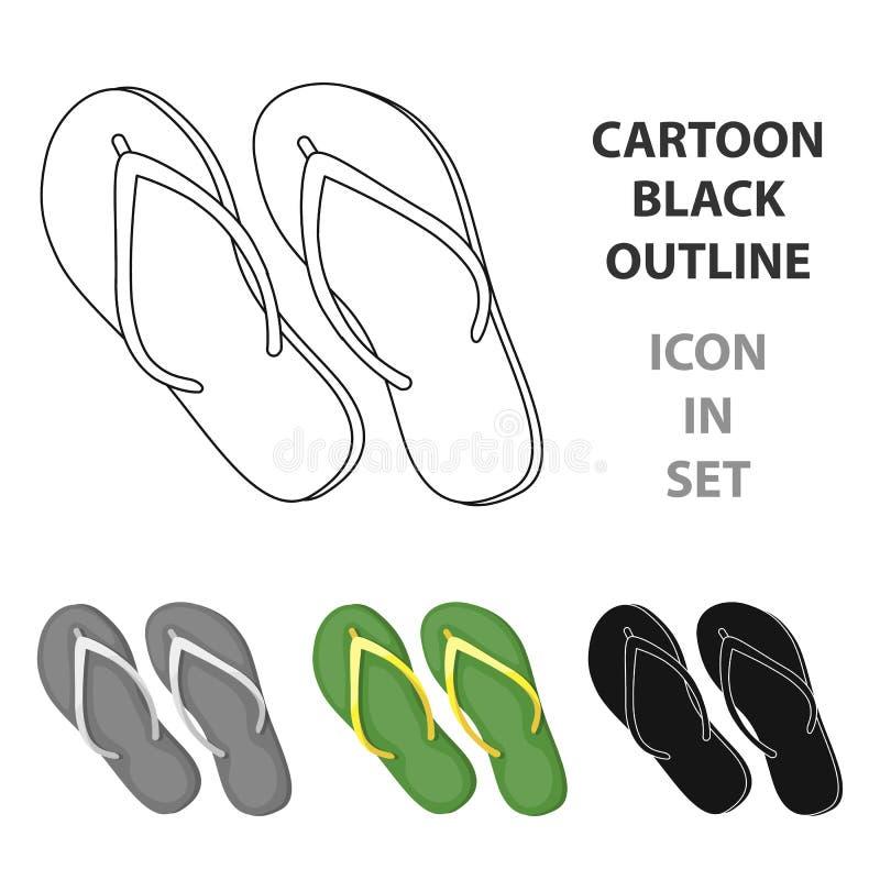 Grüne Flipflopikone in der Karikaturart lokalisiert auf weißem Hintergrund Brasilien-Landsymbolvorrat-Vektorillustration vektor abbildung