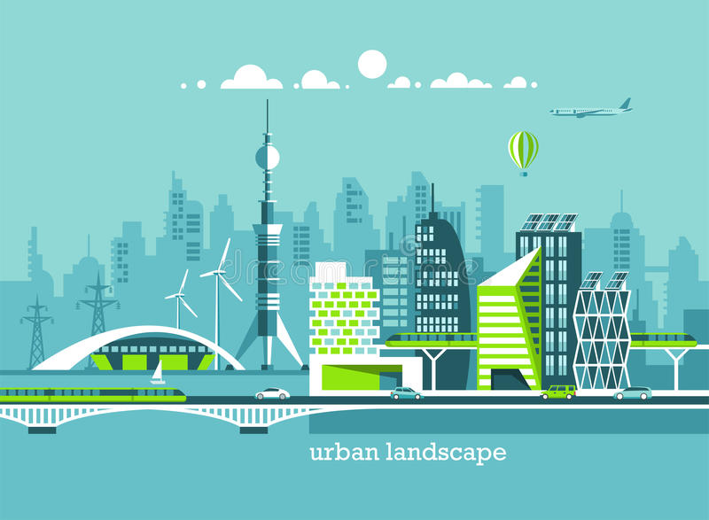 Grüne freundliche Stadt der Energie und des eco Moderne Architektur, Gebäude, Wolkenkratzer Flache Vektorillustration vektor abbildung