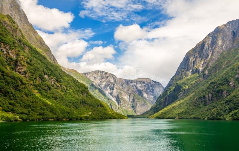 Grüne Gebirgswände entlang schmalem Naeroy-Fjord, Aurlan, Sogn-og Fjordane-Grafschaft, Norwegen lizenzfreie stockbilder