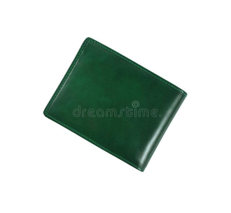 Grüne Geldbörse auf einem Weiß stockfotos