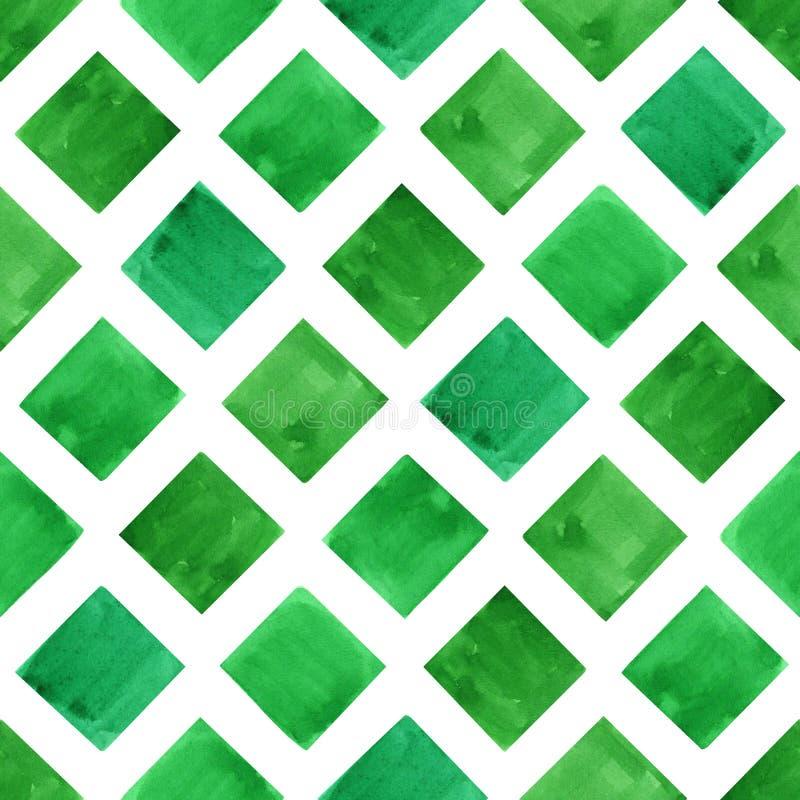 Grüne Geometrieformen des Aquarells Nahtloses Muster stockfoto