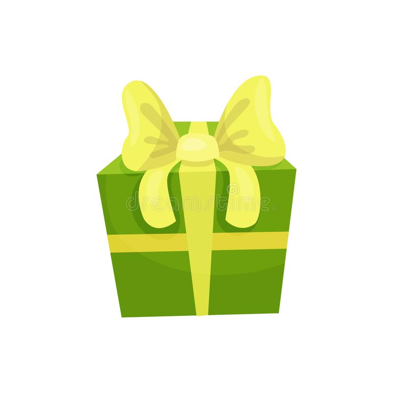 Grüne Geschenkbox mit großem gelbem Bogen Geschenk für Geburtstag Verkaufs- oder Einkaufskonzept Dekoratives Element für Grußkart lizenzfreie abbildung