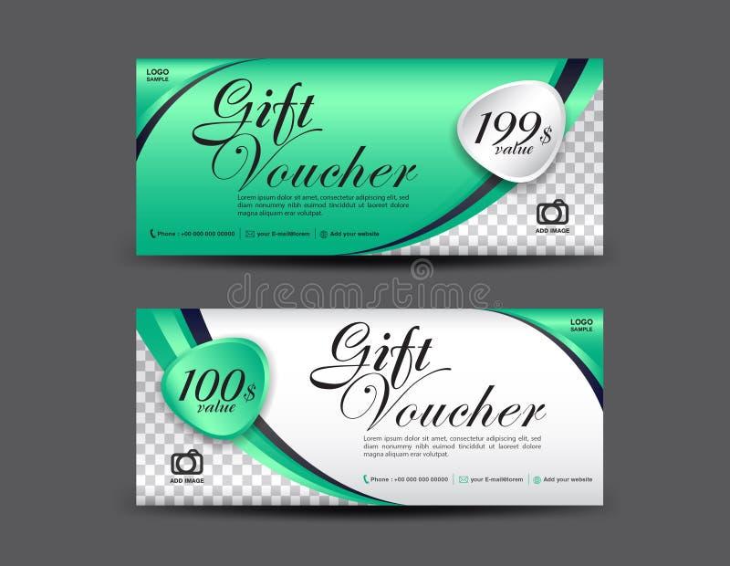 Grüne Geschenkgutscheinschablone, Kupondesign, Gutschein lizenzfreie abbildung