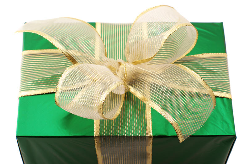 Grüne Geschenknahaufnahme stockbilder