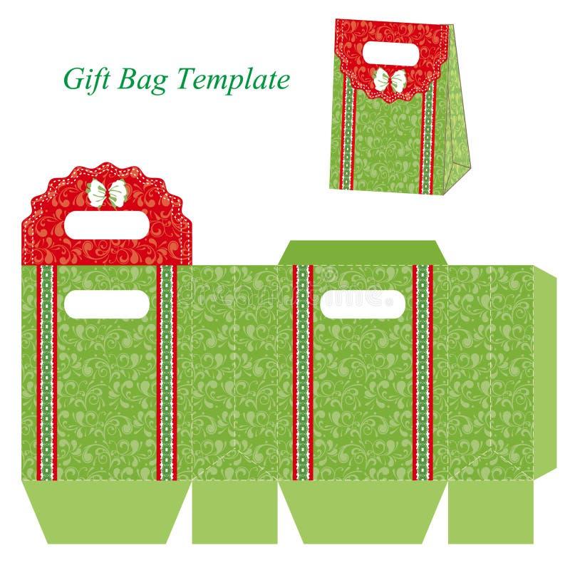 Grüne Geschenktaschenschablone mit Blumenmuster und Band stock abbildung