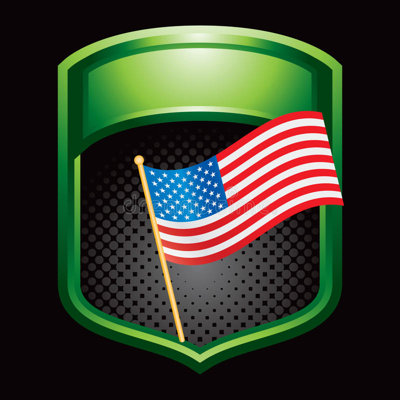 Grüne glänzende Bildschirmanzeige mit amerikanischer Flagge lizenzfreie abbildung