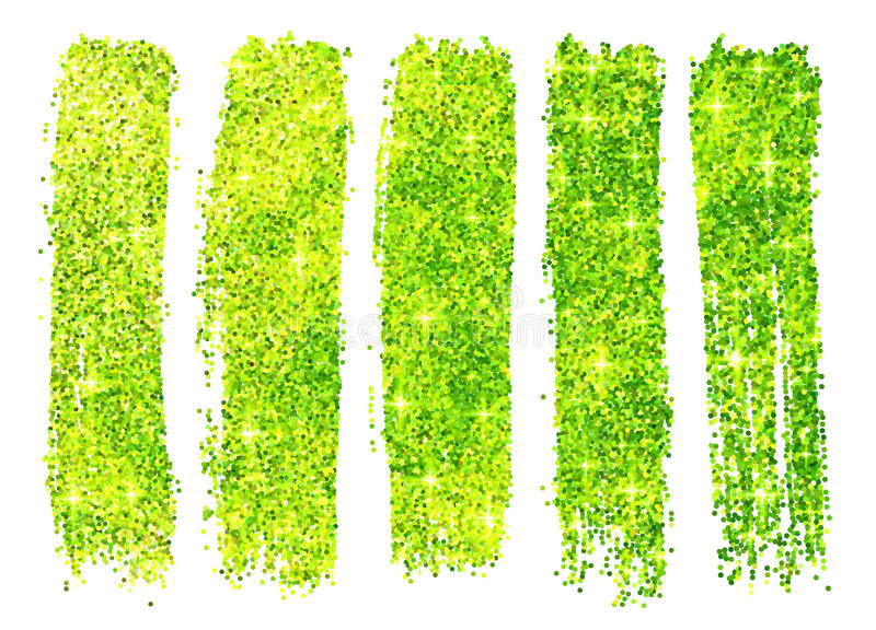 Grüne glänzende Funkelnpoliturproben an lokalisiert stock abbildung