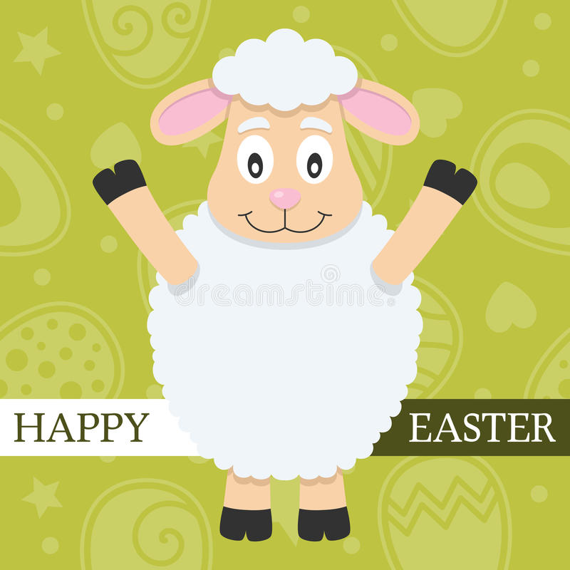 Grüne glückliche Ostern-Karte mit Lamm stock abbildung