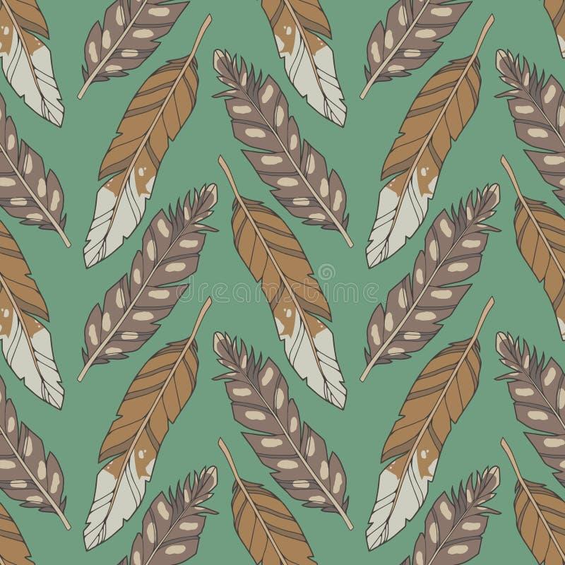 Grüne grafische Illustration nahtloses boho und ethno Muster mit natürlichen Adlerfedern und -pfeilen auf grünem Hintergrund vektor abbildung