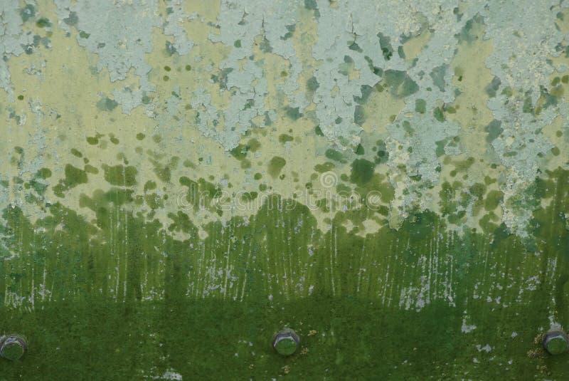 Grüne graue Metallbeschaffenheit der schmutzigen und nass Eisenwand lizenzfreie stockbilder