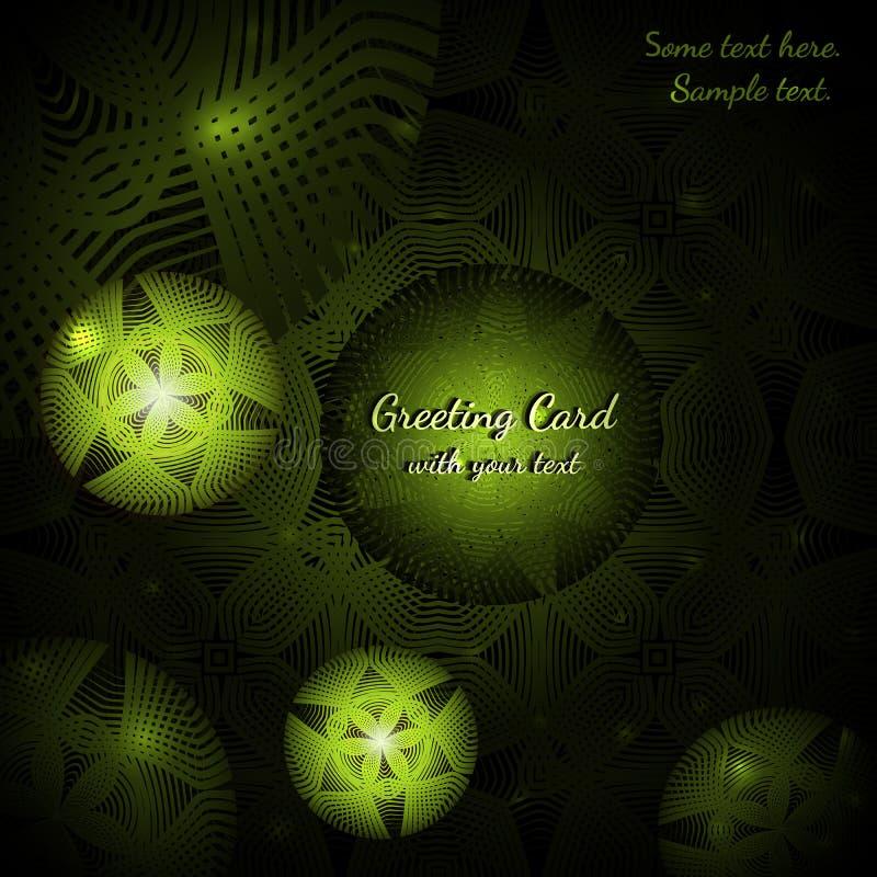 Grüne Grußkarte mit abstrakten runden Mustern vektor abbildung