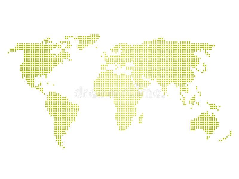 Grüne Halbtonweltkarte von kleinen Punkten in der linearen Anordnung Einfache flache Vektorillustration auf weißem Hintergrund lizenzfreie abbildung