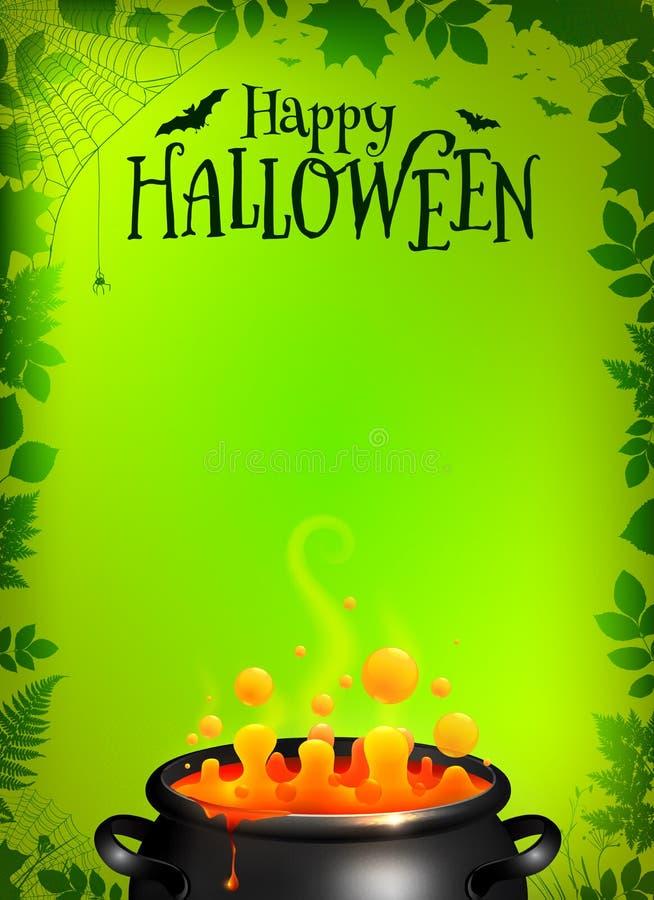 Grüne Halloween-Plakatschablone mit orange Trank stock abbildung