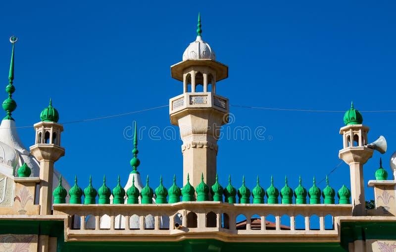 Grüne Hauben der Moschee und Minaretttürme lizenzfreies stockbild
