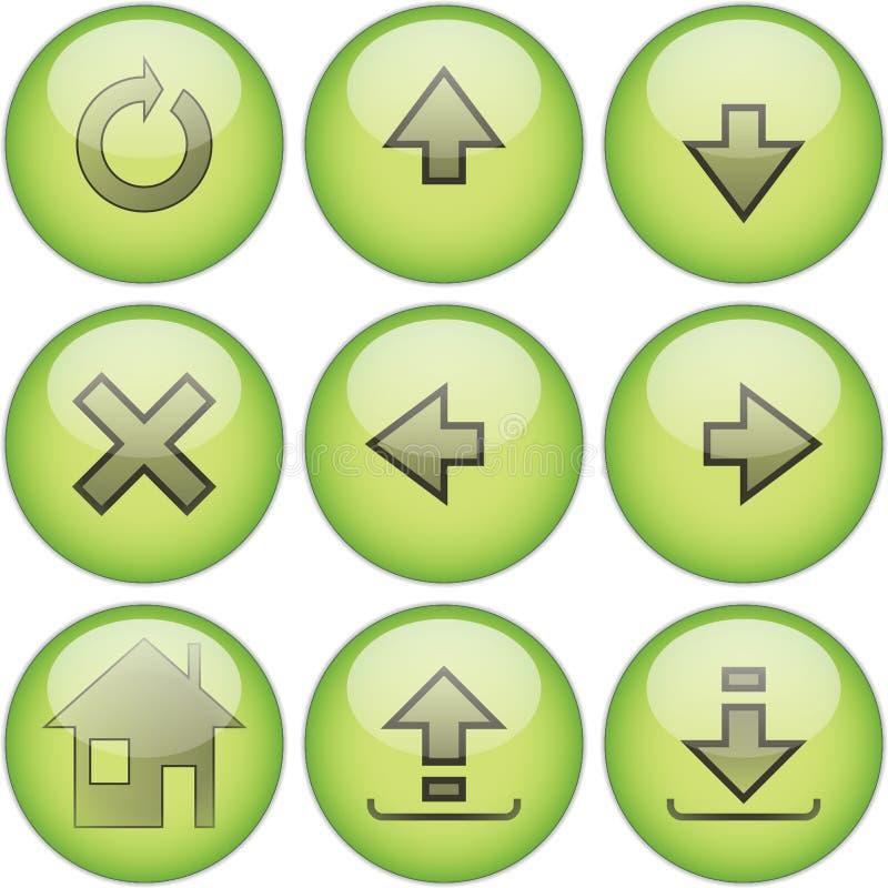 Grüne Ikone gesetztes â2 stock abbildung