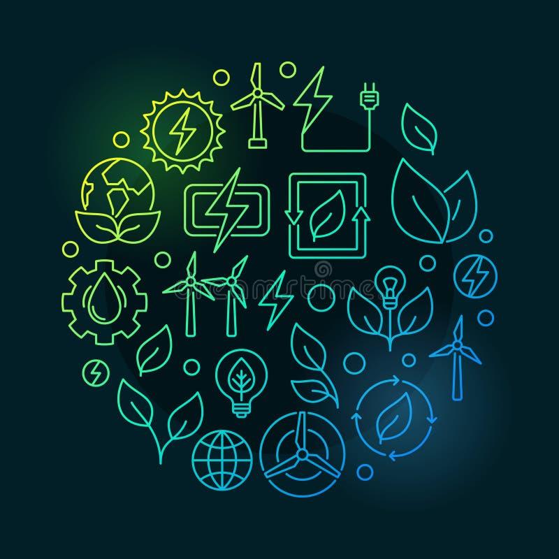 Grüne Illustration der erneuerbaren Energiequellen lizenzfreie abbildung