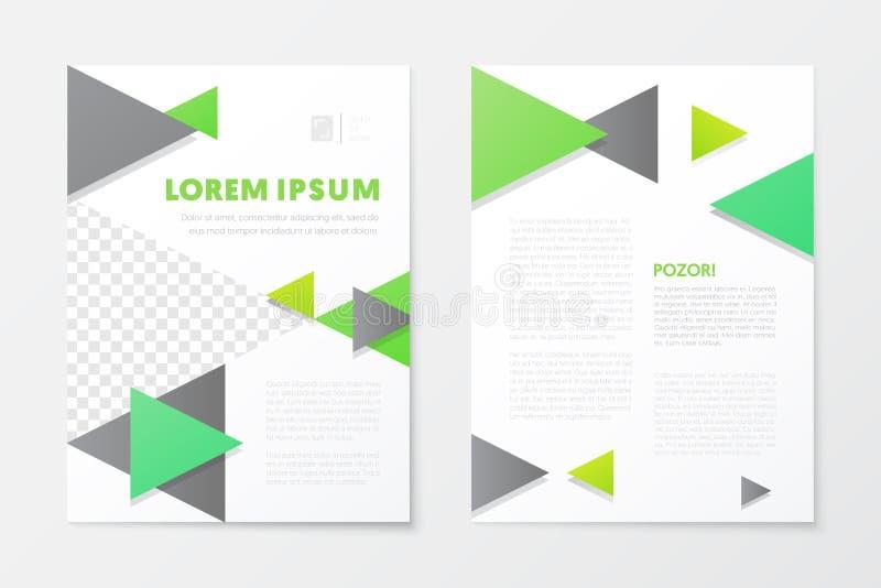 Grüne Jahresbericht-Geschäfts-Broschüre, Broschüre, Broschüren-Abdeckungs-Flieger-Schablone Abstrakter Hintergrund für die Ausleg stock abbildung