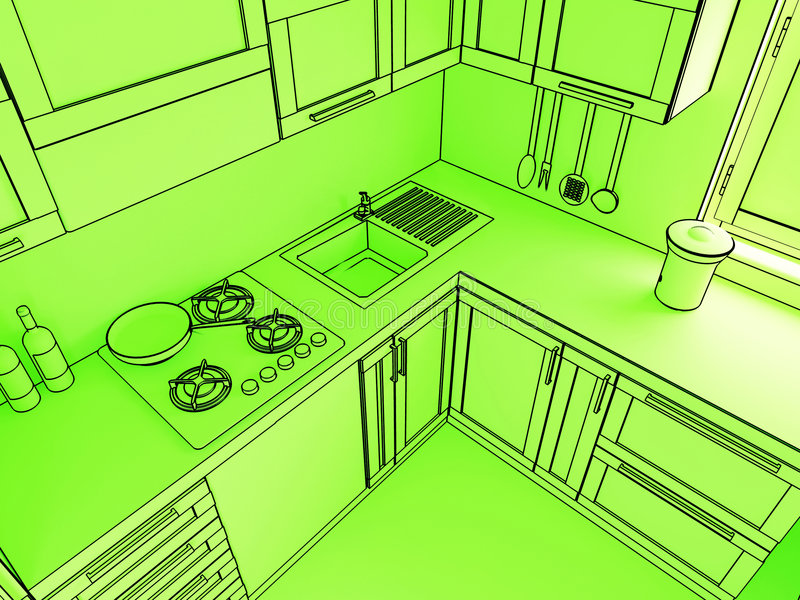 Grüne Küche 3d stock abbildung