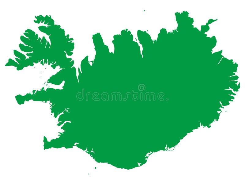 Grüne Karte des europäischen Landes von Island lizenzfreie abbildung